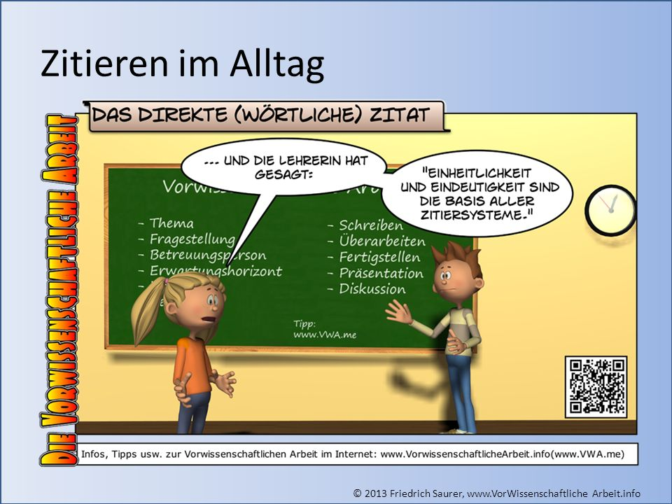 Zitieren im Alltag Grafik (direktes Zitat): © Friedrich Saurer, www.saurer.biz