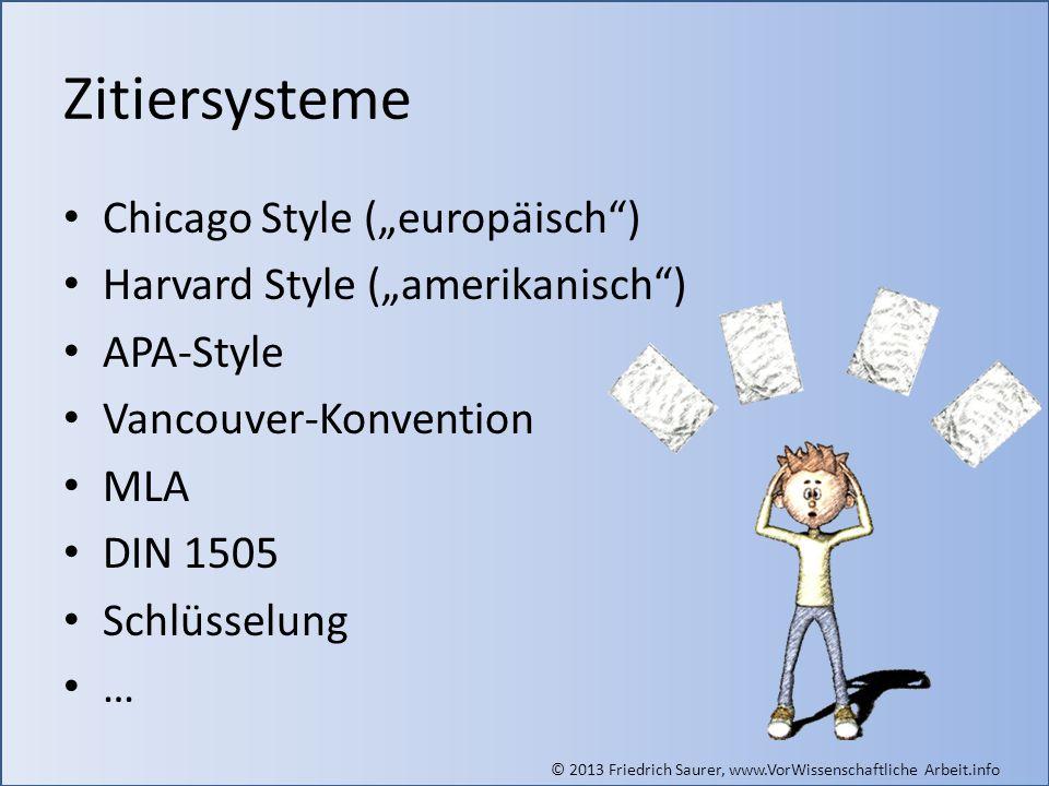 """Zitiersysteme Chicago Style (""""europäisch )"""