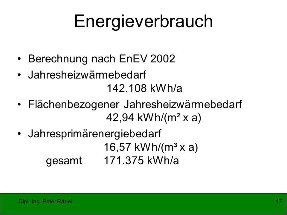 Energieverbrauch Berechnung nach EnEV 2002