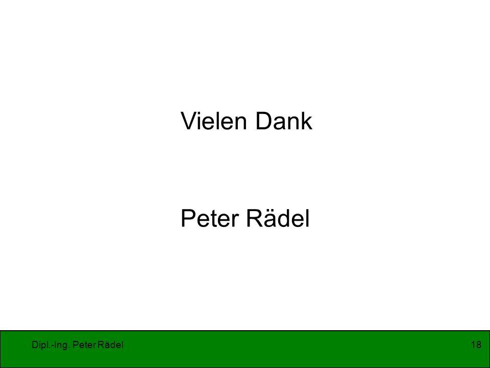 Vielen Dank Peter Rädel Dipl.-Ing. Peter Rädel