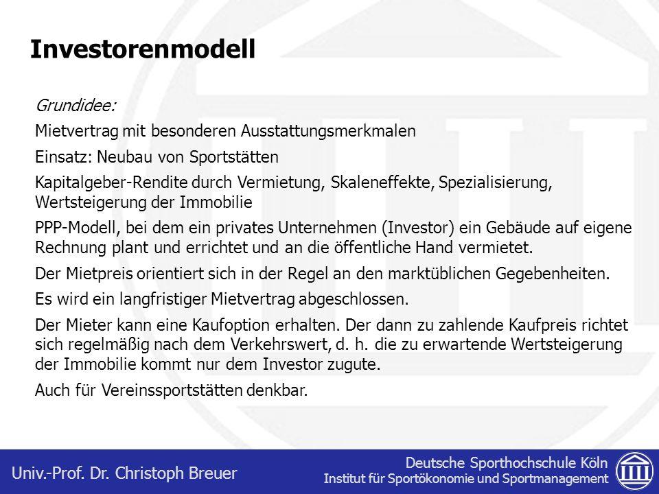 Investorenmodell Grundidee:
