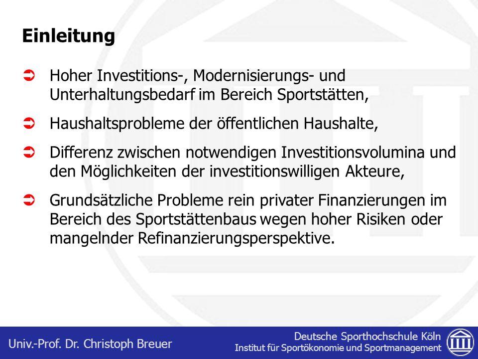 Einleitung Hoher Investitions-, Modernisierungs- und Unterhaltungsbedarf im Bereich Sportstätten, Haushaltsprobleme der öffentlichen Haushalte,