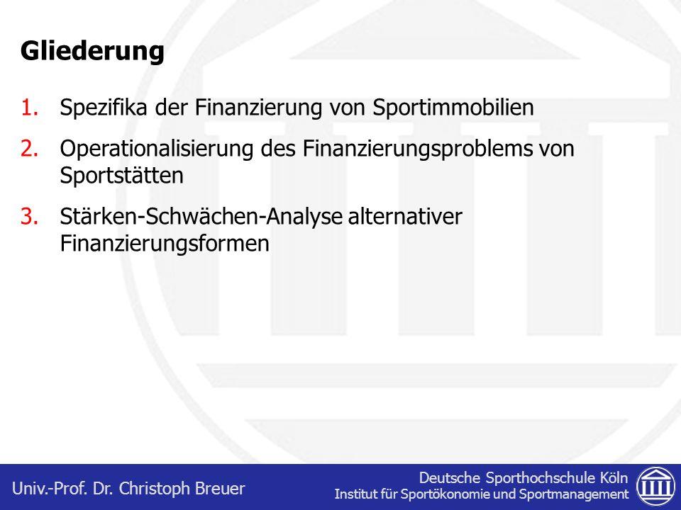 Gliederung Spezifika der Finanzierung von Sportimmobilien
