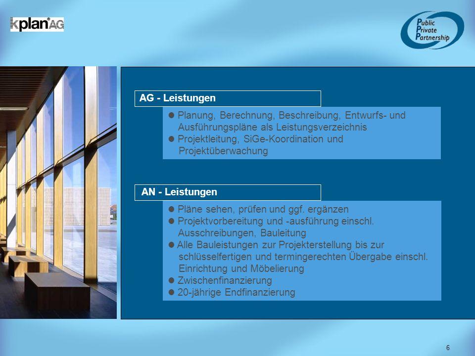 AG - Leistungen Planung, Berechnung, Beschreibung, Entwurfs- und. Ausführungspläne als Leistungsverzeichnis.