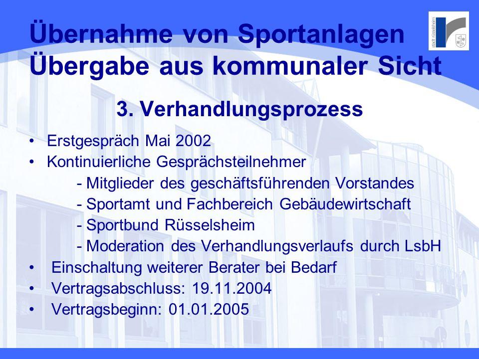 Übernahme von Sportanlagen Übergabe aus kommunaler Sicht
