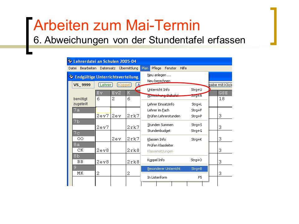 Arbeiten zum Mai-Termin 6. Abweichungen von der Stundentafel erfassen