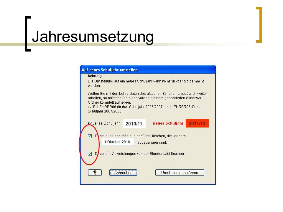 Jahresumsetzung 2010/11 2011/12 1.Oktober 2010