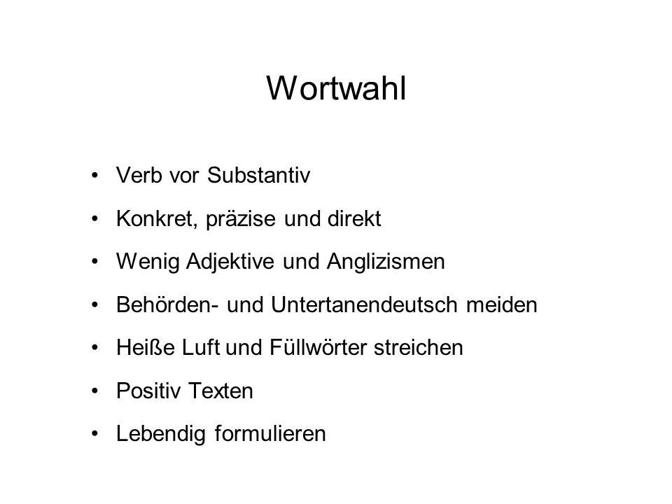 Wortwahl Verb vor Substantiv Konkret, präzise und direkt