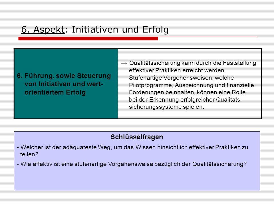 6. Aspekt: Initiativen und Erfolg