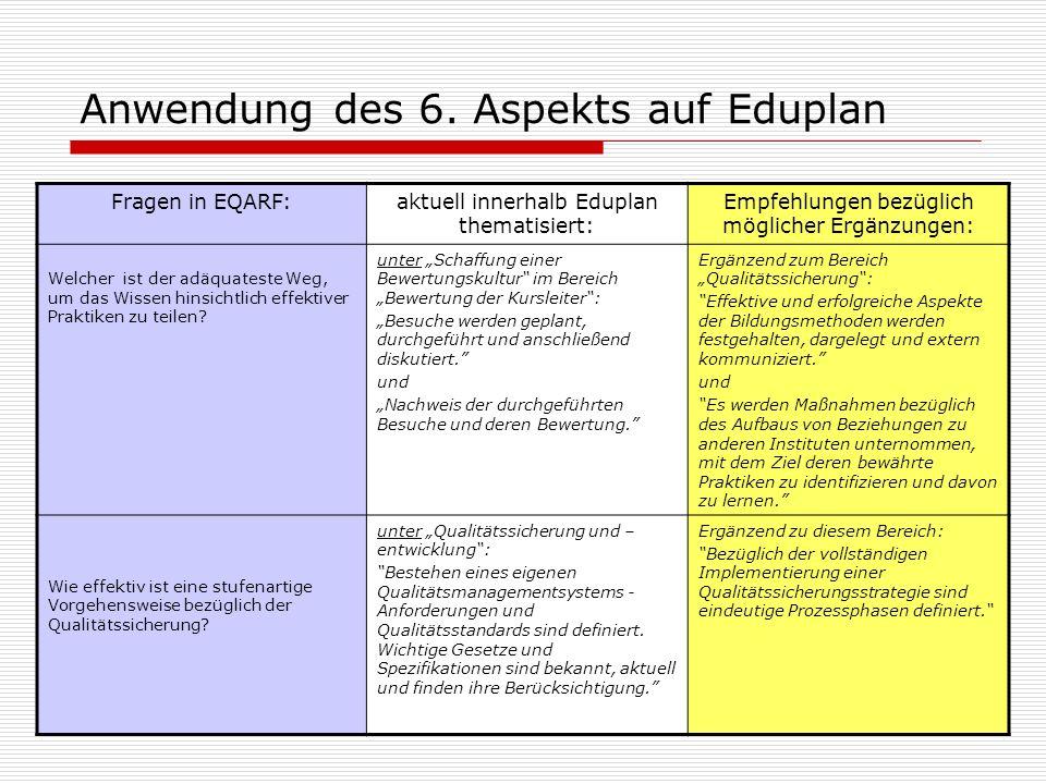 Anwendung des 6. Aspekts auf Eduplan