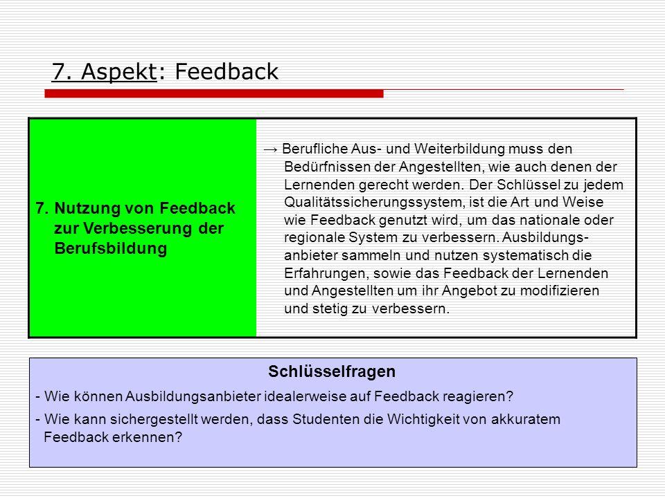 7. Aspekt: Feedback 7. Nutzung von Feedback zur Verbesserung der