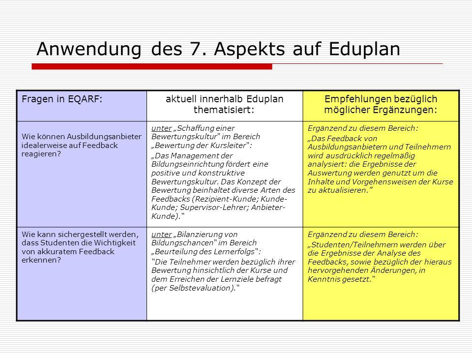 Anwendung des 7. Aspekts auf Eduplan