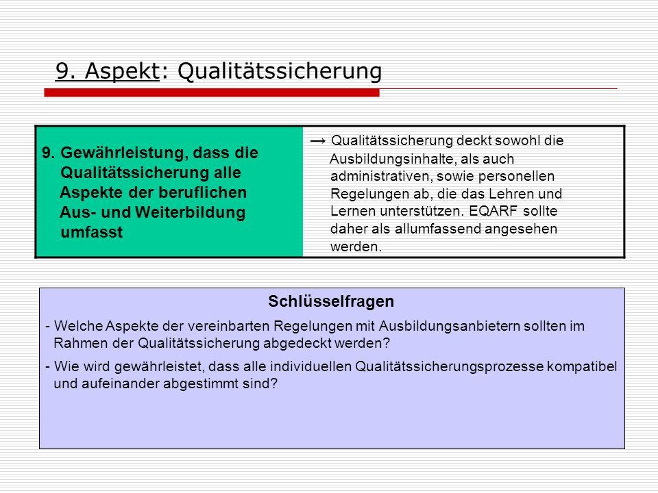 9. Aspekt: Qualitätssicherung