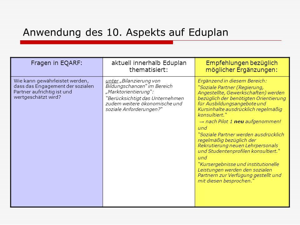 Anwendung des 10. Aspekts auf Eduplan