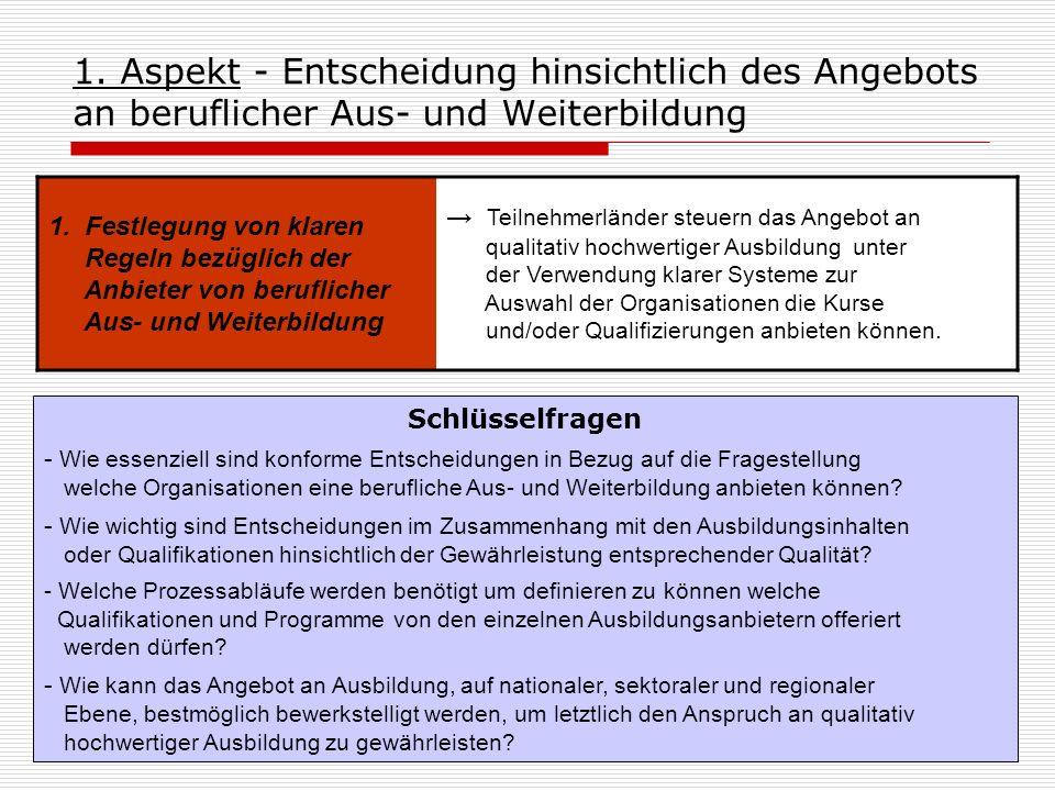 1. Aspekt - Entscheidung hinsichtlich des Angebots an beruflicher Aus- und Weiterbildung