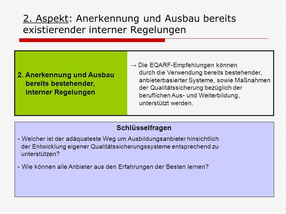 2. Aspekt: Anerkennung und Ausbau bereits existierender interner Regelungen