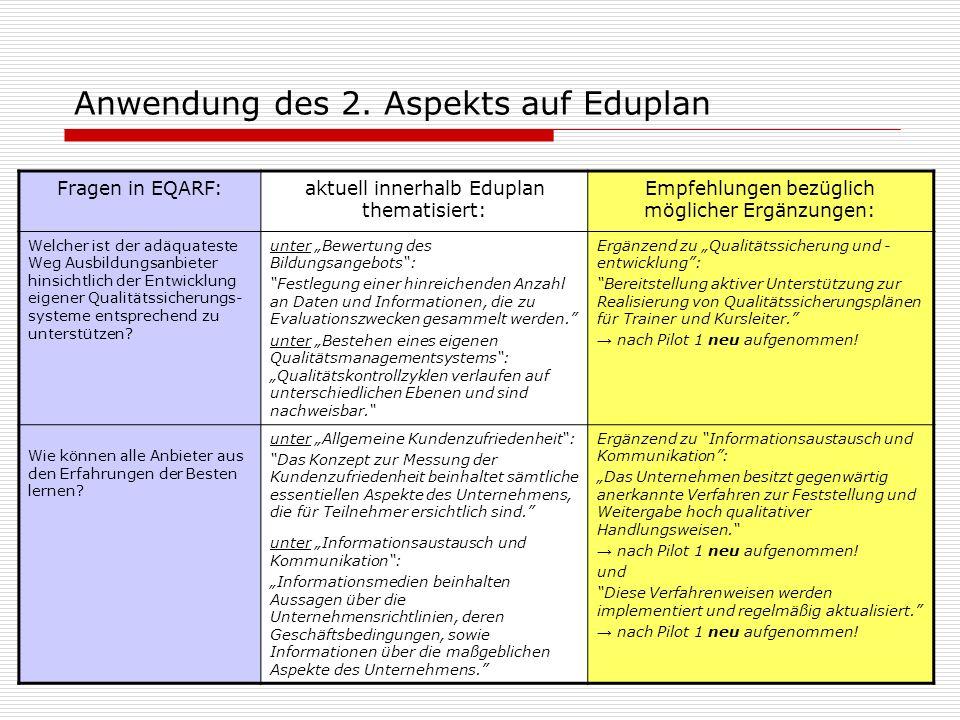 Anwendung des 2. Aspekts auf Eduplan