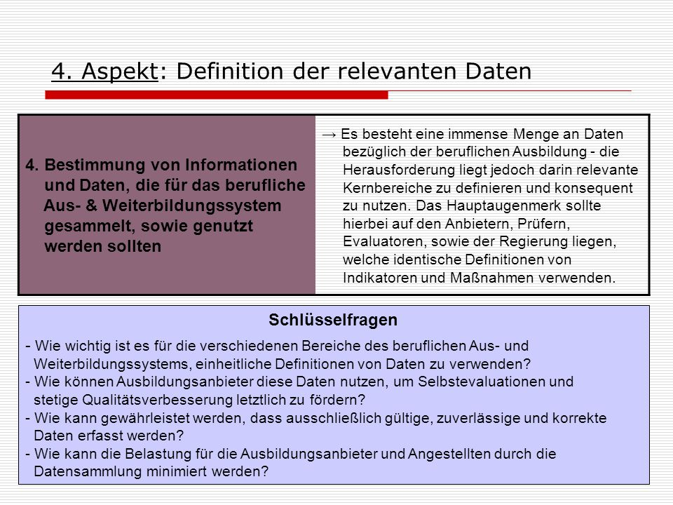 4. Aspekt: Definition der relevanten Daten