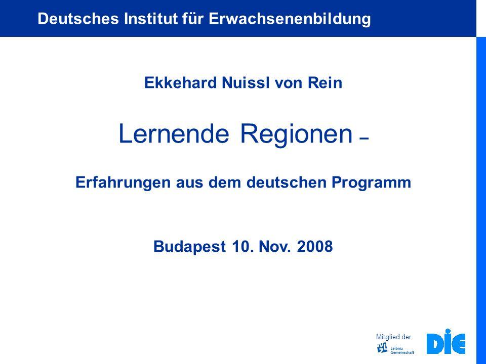 Ekkehard Nuissl von Rein Erfahrungen aus dem deutschen Programm