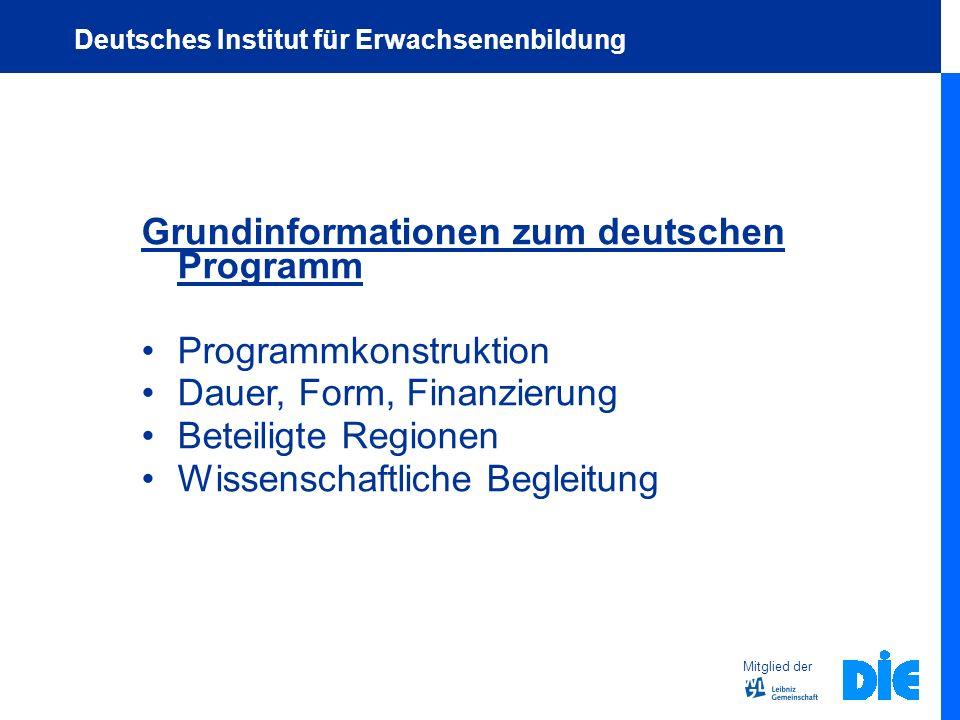 Grundinformationen zum deutschen Programm Programmkonstruktion