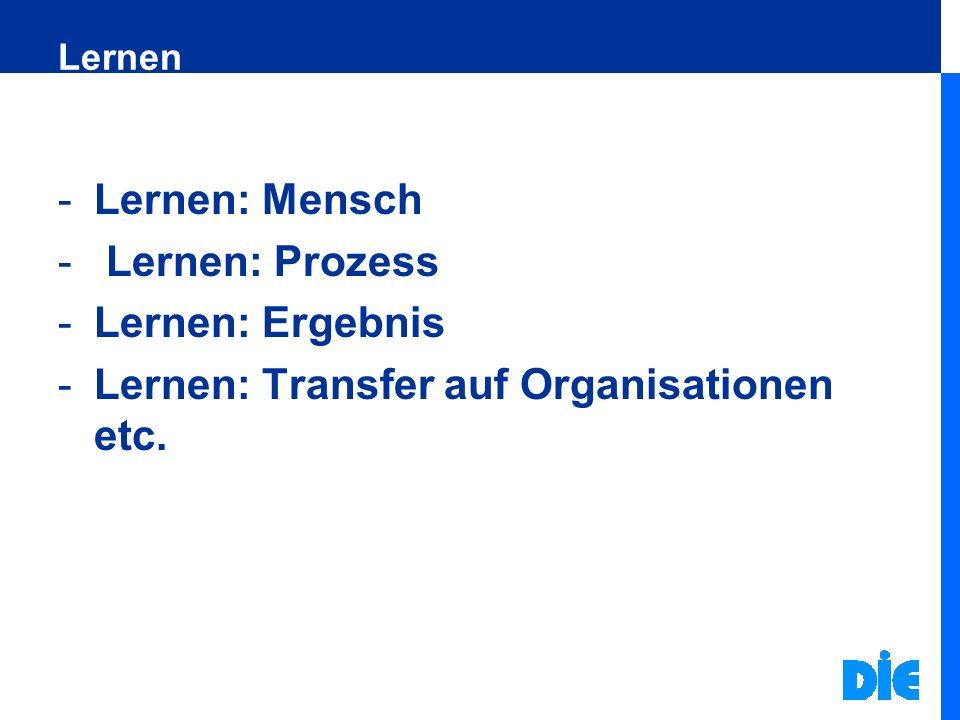 Lernen: Transfer auf Organisationen etc.