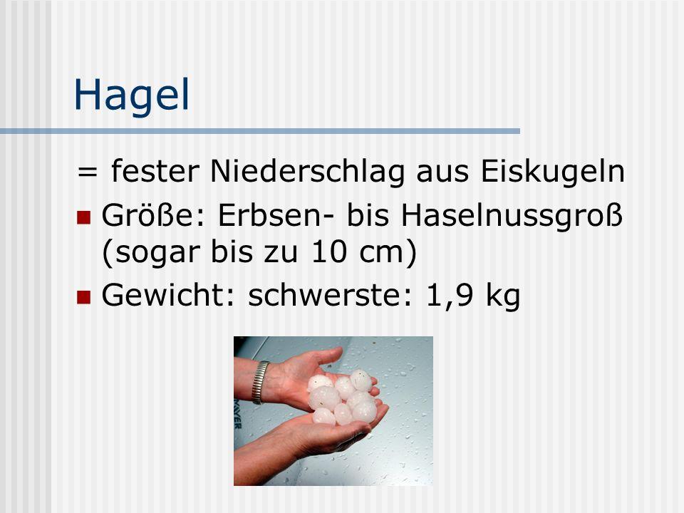 Hagel = fester Niederschlag aus Eiskugeln