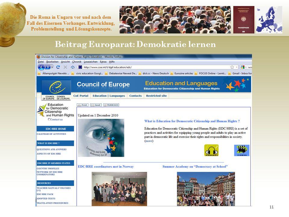 Beitrag Europarat: Demokratie lernen