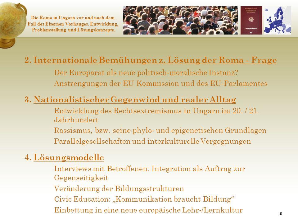 2. Internationale Bemühungen z. Lösung der Roma - Frage