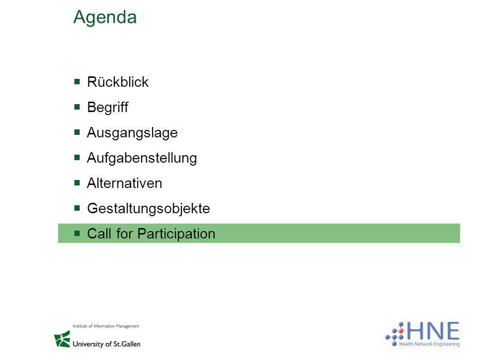 Agenda Rückblick Begriff Ausgangslage Aufgabenstellung Alternativen