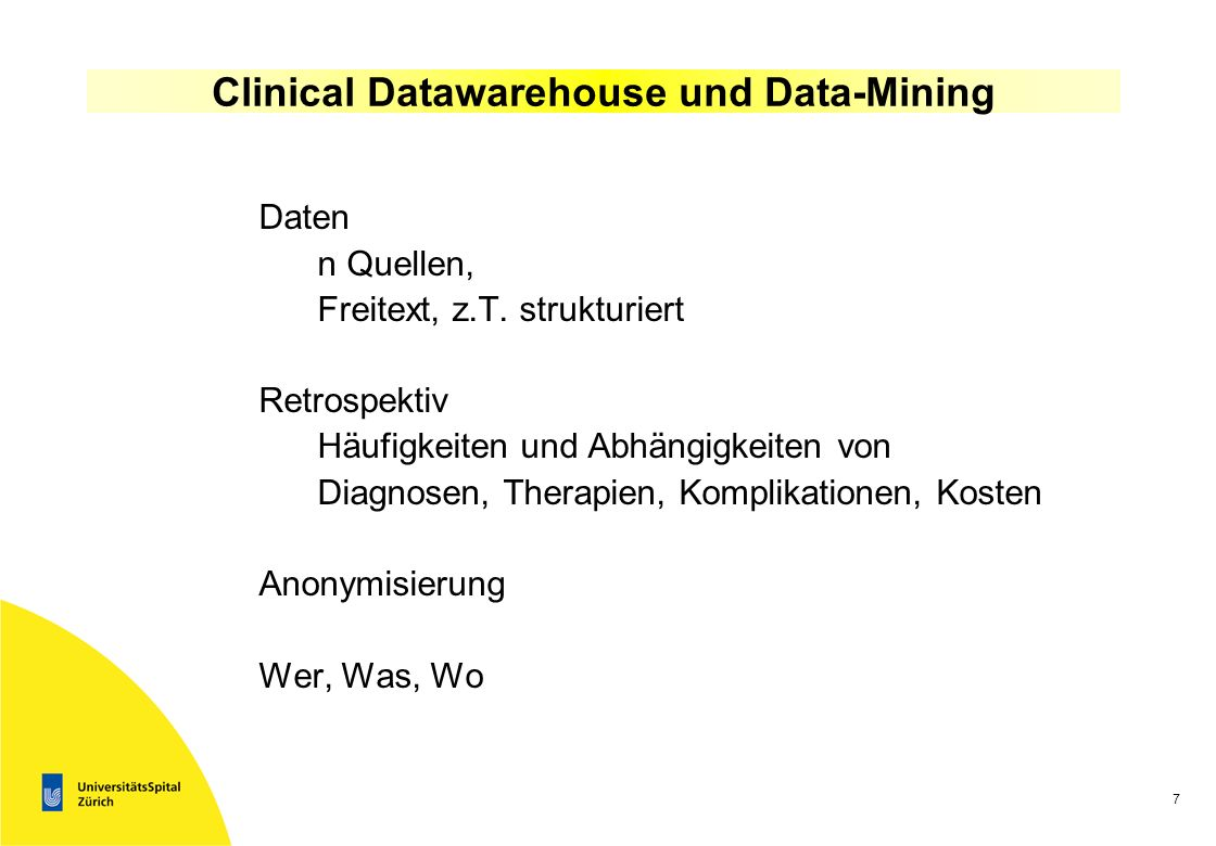 Clinical Datawarehouse und Data-Mining