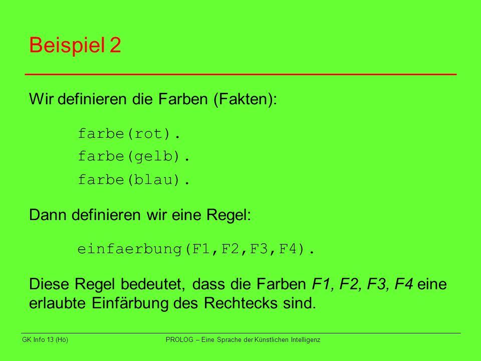 Beispiel 2 Wir definieren die Farben (Fakten): farbe(rot).