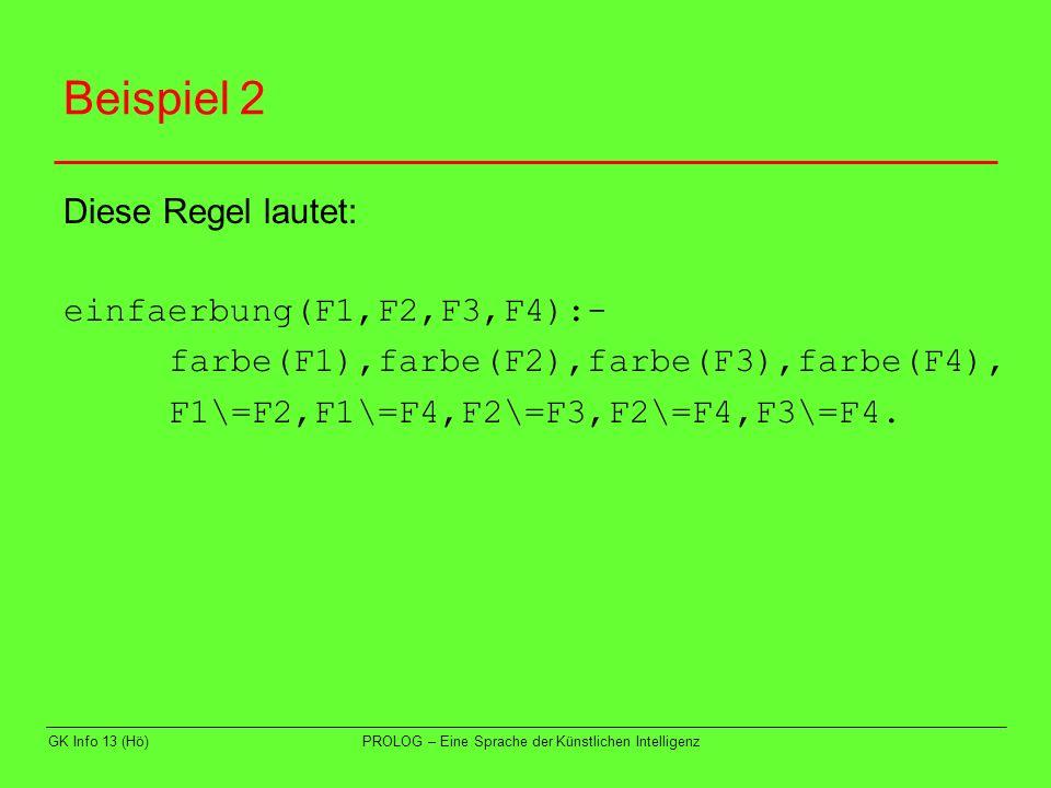 Beispiel 2 Diese Regel lautet: einfaerbung(F1,F2,F3,F4):-