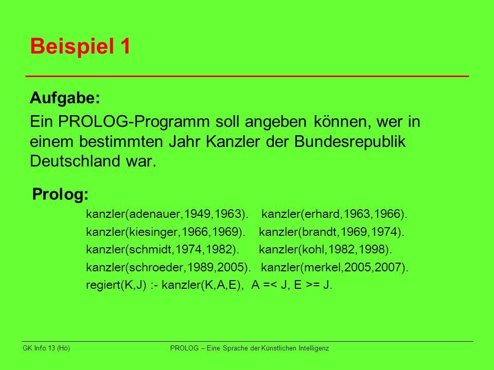 Beispiel 1 Aufgabe: Ein PROLOG-Programm soll angeben können, wer in einem bestimmten Jahr Kanzler der Bundesrepublik Deutschland war.