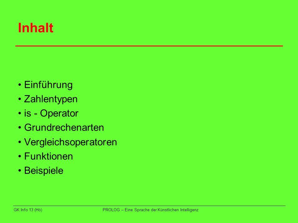 Inhalt • Einführung • Zahlentypen • is - Operator • Grundrechenarten