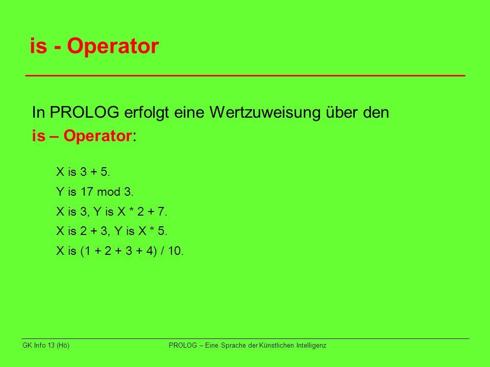 is - Operator In PROLOG erfolgt eine Wertzuweisung über den