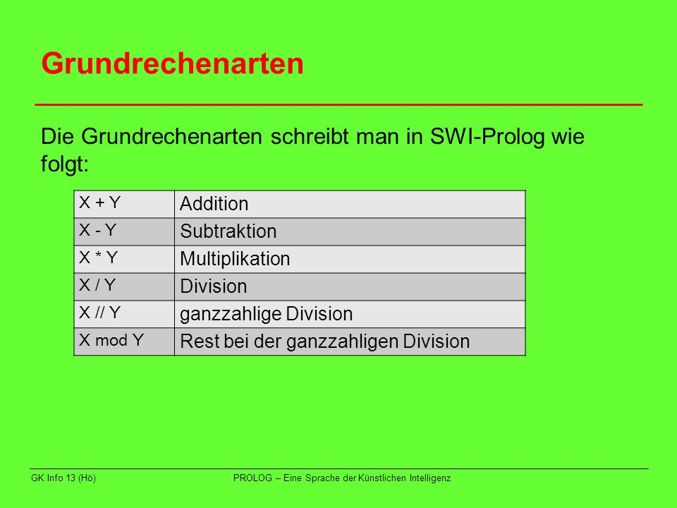 Grundrechenarten Die Grundrechenarten schreibt man in SWI-Prolog wie folgt: X + Y. Addition. X - Y.