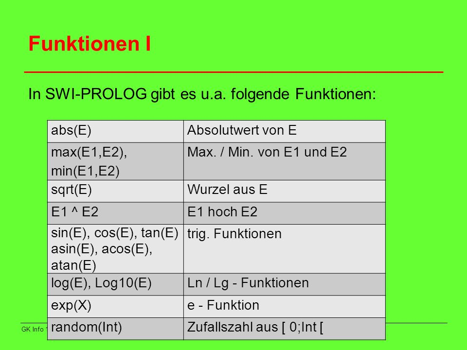 Funktionen I In SWI-PROLOG gibt es u.a. folgende Funktionen: abs(E)