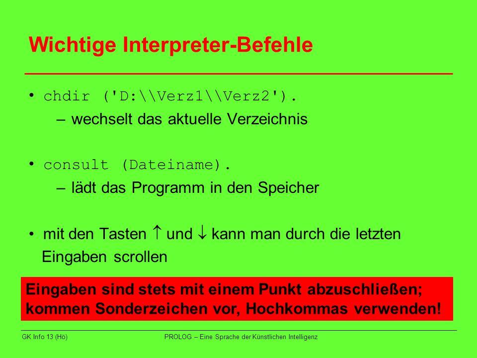 Wichtige Interpreter-Befehle