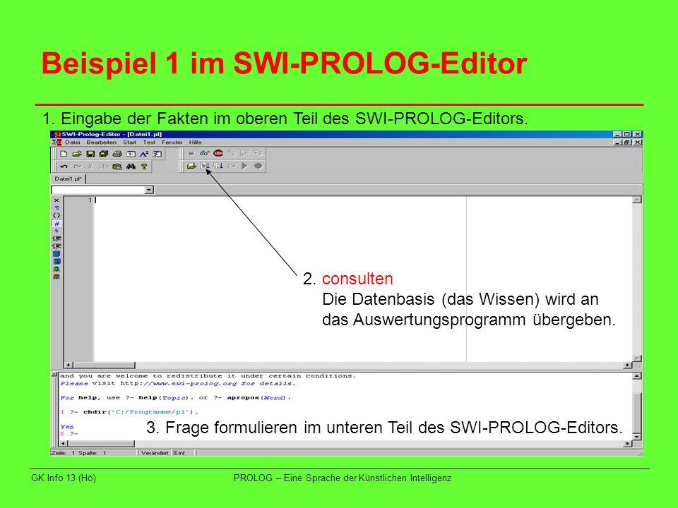 Beispiel 1 im SWI-PROLOG-Editor