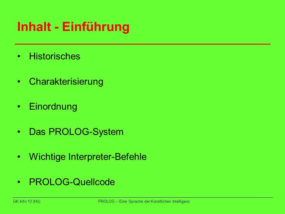 Inhalt - Einführung Historisches Charakterisierung Einordnung