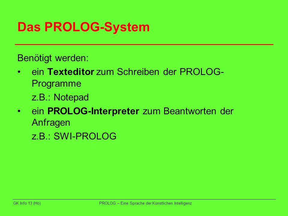Das PROLOG-System Benötigt werden: