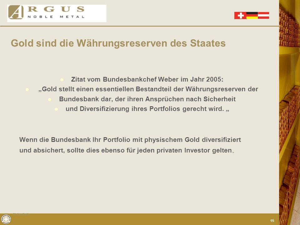 Gold sind die Währungsreserven des Staates