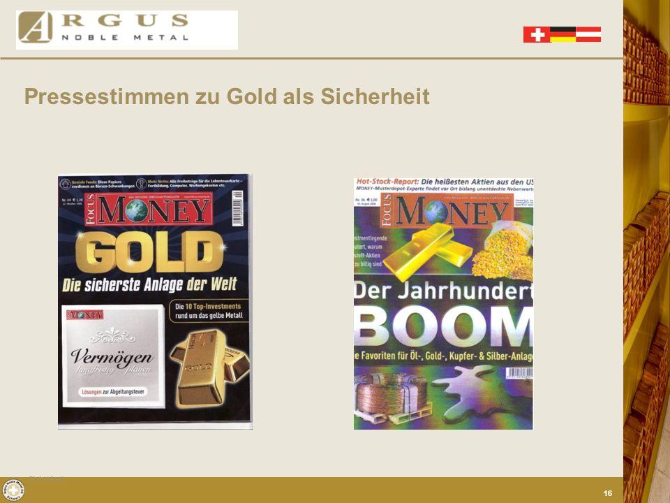 Pressestimmen zu Gold als Sicherheit