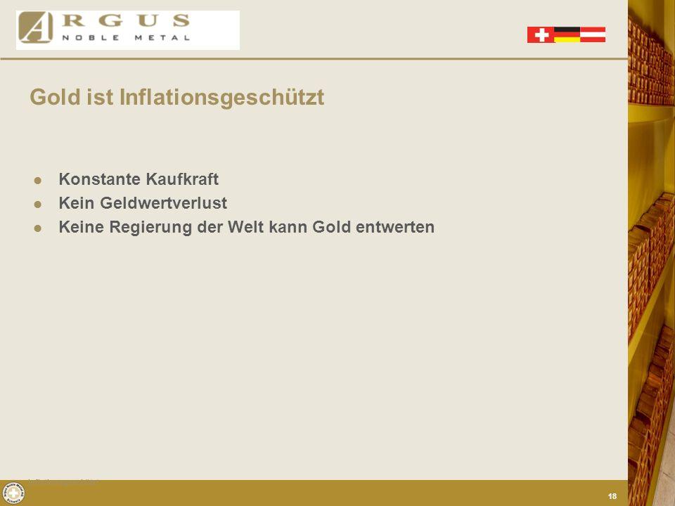 Gold ist Inflationsgeschützt