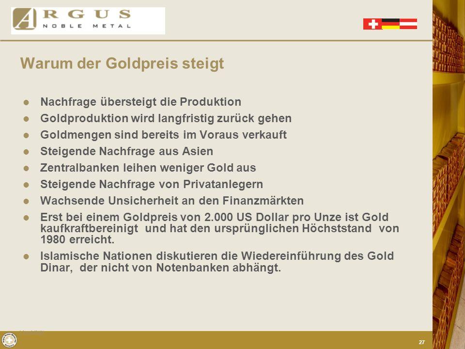 Warum der Goldpreis steigt