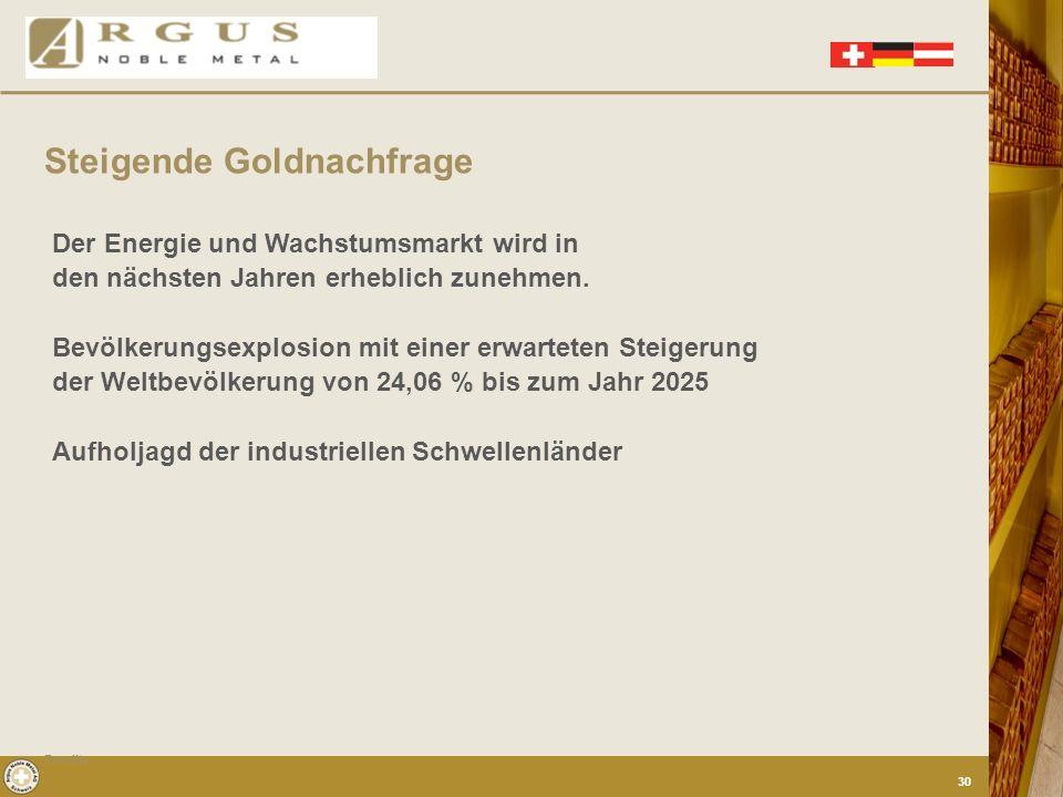 Steigende Goldnachfrage