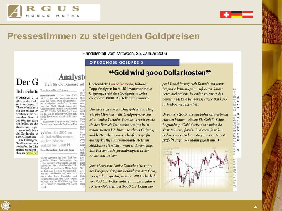 Pressestimmen zu steigenden Goldpreisen