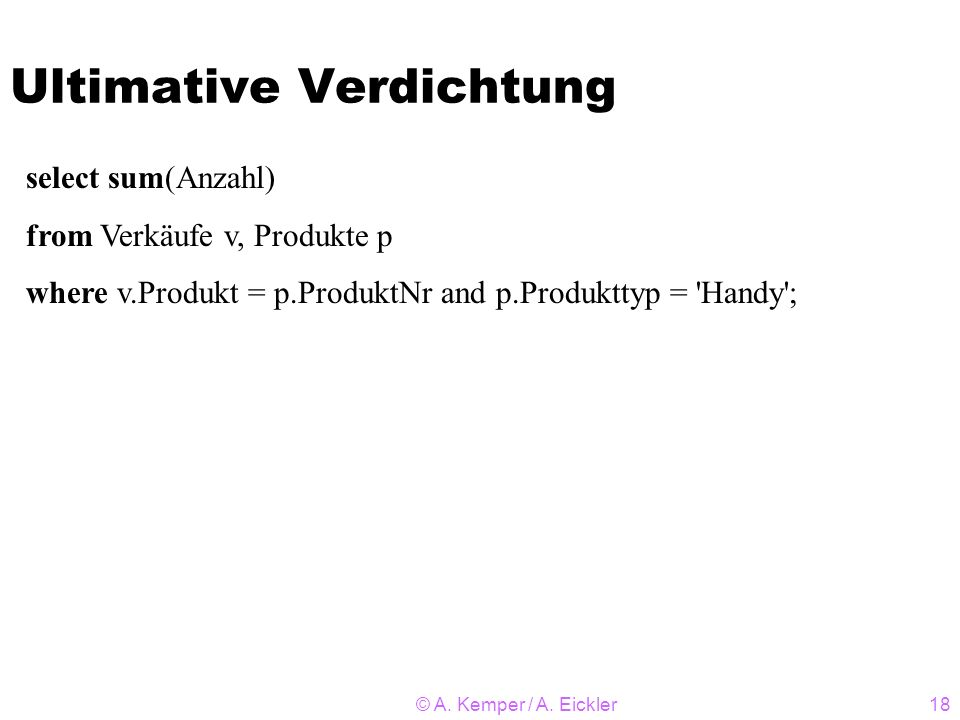 Ultimative Verdichtung