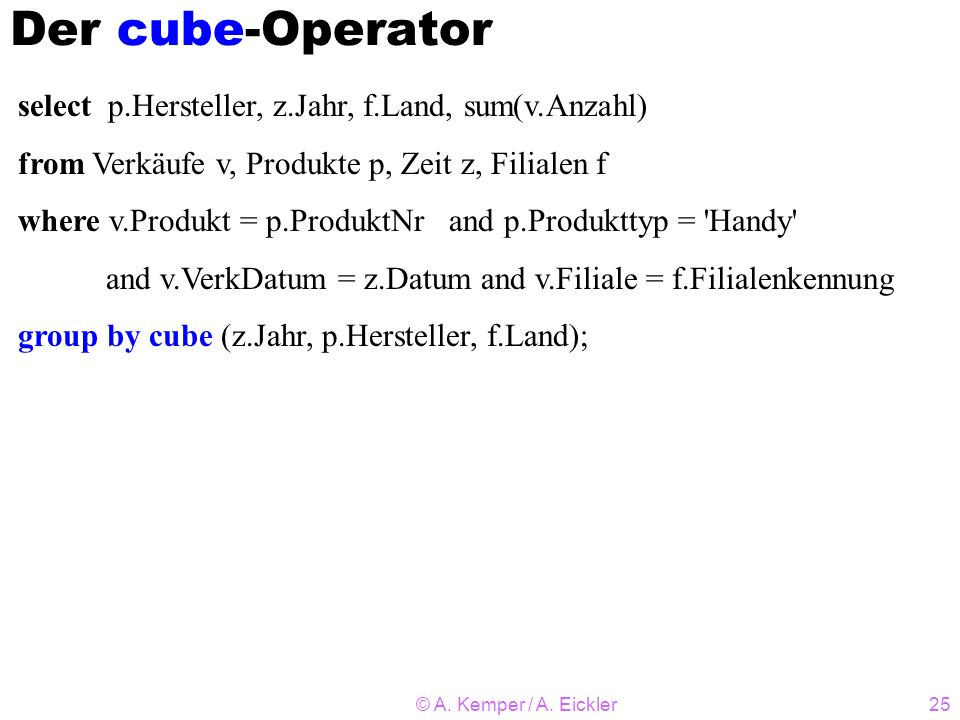 Der cube-Operator select p.Hersteller, z.Jahr, f.Land, sum(v.Anzahl)