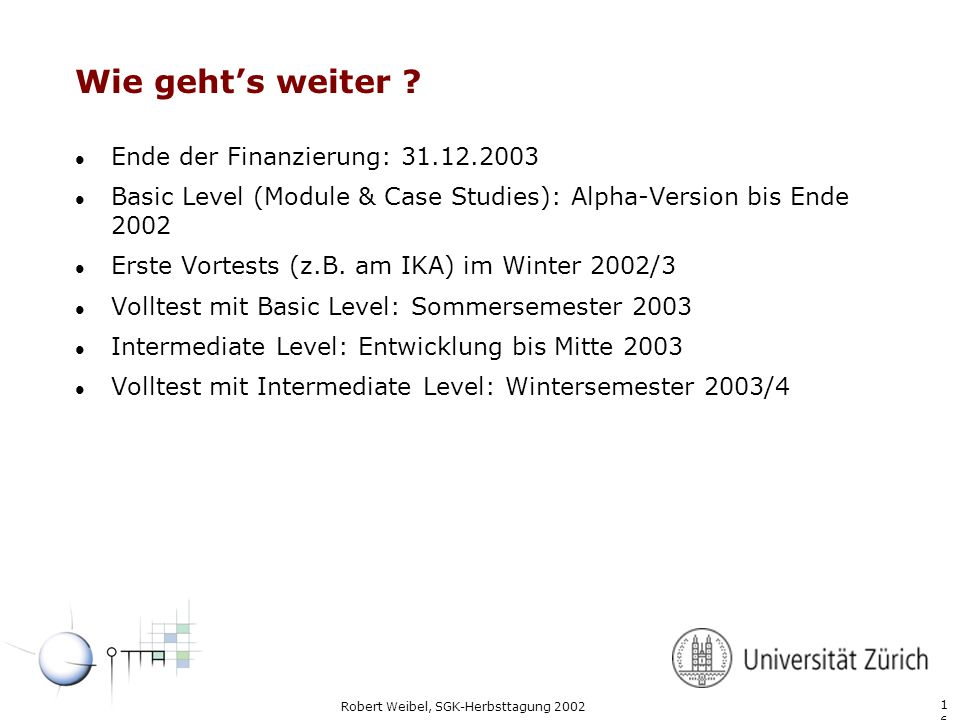 Wie geht's weiter Ende der Finanzierung: 31.12.2003